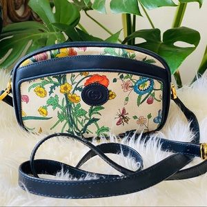 GUCCI Vtg flora small crossbody bag purse navy